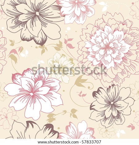 Abstract Elegance seamless pink floral pattern. Beautiful flower vector illustration texture - stock vector