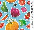Abstract Elegance Sticker seamless food pattern, Vegetable vector illustration - stock vector