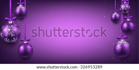 Abstract elegant banner with purple christmas balls and place for text. Vector illustration.  - stock vector