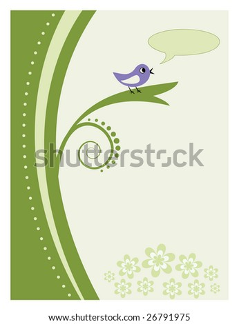 Abstract elegant tree and bird telling news - stock vector