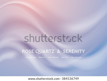 Abstract elegant vector illustration with smooth waves. Trend colors of the year 2016 rose quartz and serenity. Modern curves background - stock vector