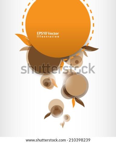 abstract elegant vintage leaf foliage elements in round frame illustration. eps10 vector format - stock vector