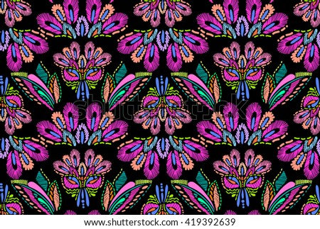 abstract embroidery feather design ~ seamless background - stock vector