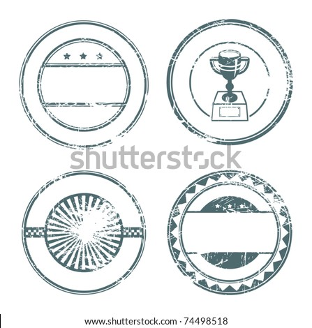 Abstract empty grunge rubber stamp set with space for text, vector illustration - stock vector