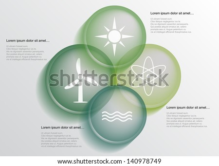 Abstract energy infographic with transparent circles, eps10 - stock vector