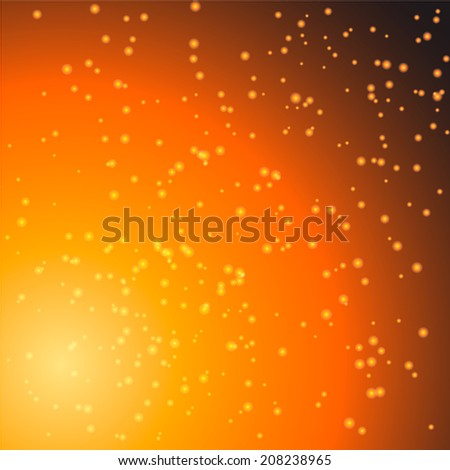 Abstract energy particles on dark background, colored orange. - stock vector