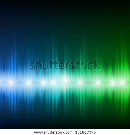 Abstract equalizer background. Blue-green wave. - stock vector