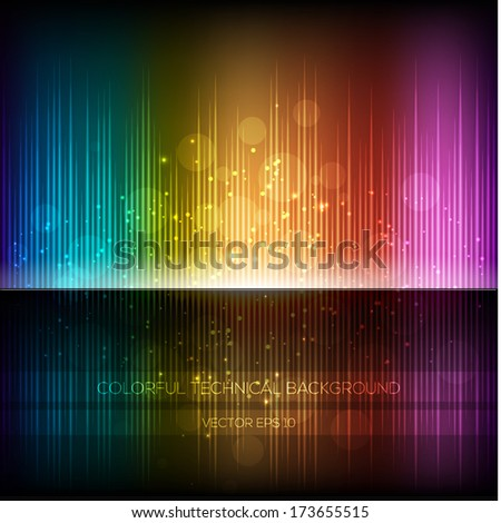Abstract equalizer background. Multicolor rainbow wave. - stock vector