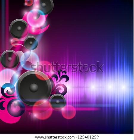 Abstract equalizer background with speakers. Blue-Purple wave. EPS10 vector. - stock vector