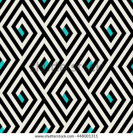 Abstract ethic geometric pattern with maze, diagonal stripes and lines in black, white, turquoise. Op art seamless geometric background. Simple tribal bold print with ethnic african and moroccan motif - stock vector