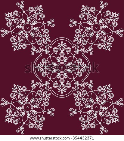 Abstract ethnic floral ornament in red. Vector