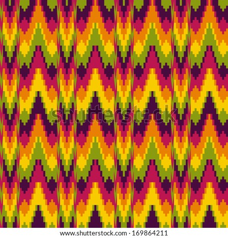 Abstract ethnic pattern in zig zag - stock vector