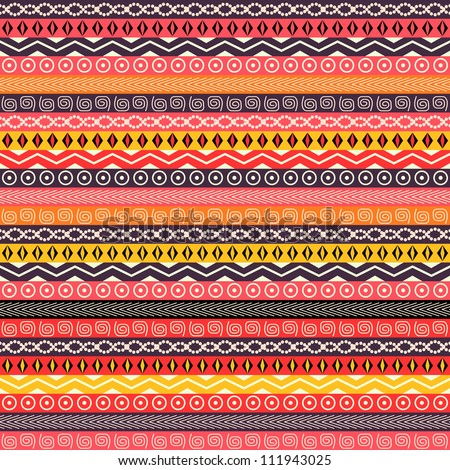 Abstract Ethnic Seamless Background. Red Black Geometric Pattern - stock vector