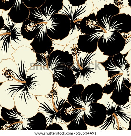 Abstract ethnic vector seamless pattern tribal art boho print vintage black and white flower