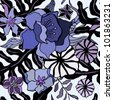 Abstract exotic flowers. Seamless pattern vector illustration. - stock photo