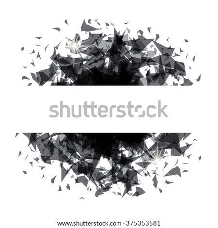 Abstract explosion black glass - stock vector