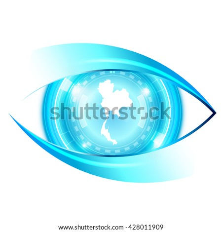 Abstract eye future technology, Thailanad map - stock vector