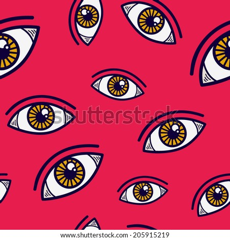 Abstract eye seamless pattern. Seamless eye in pink background pattern. - stock vector