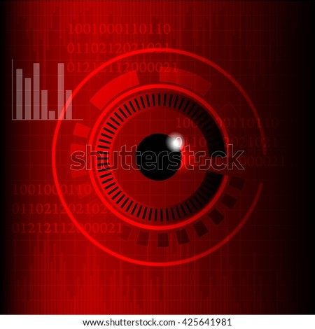 abstract eyes technology in red background - stock vector