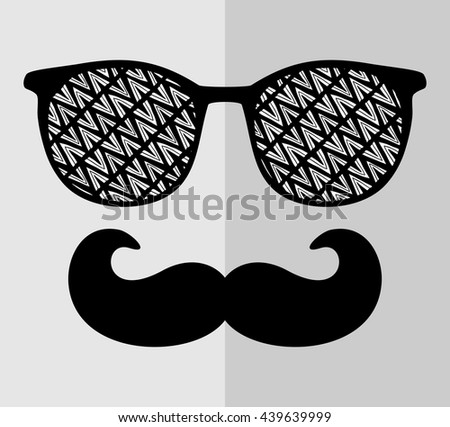 Abstract face of man in glasses. Vector image in retro style. - stock vector