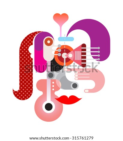 Abstract face vector illustration. Isolated graphic design on white background. - stock vector