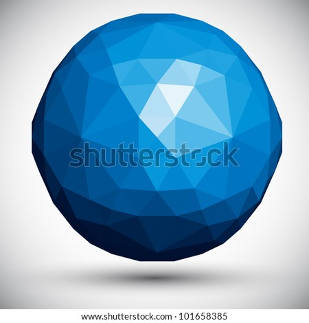 Abstract faceted sphere, 3d vector design. - stock vector