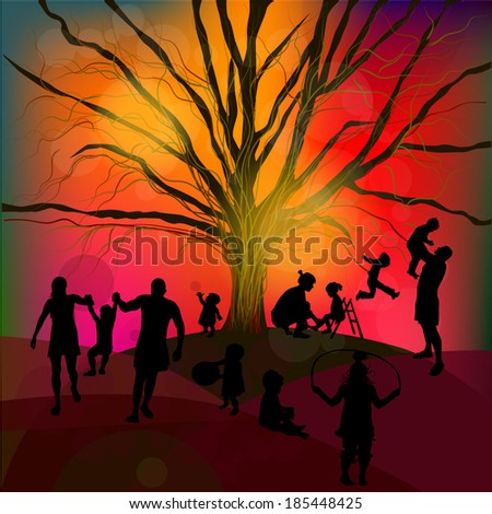 Abstract family, childhood, tree. Vector - stock vector