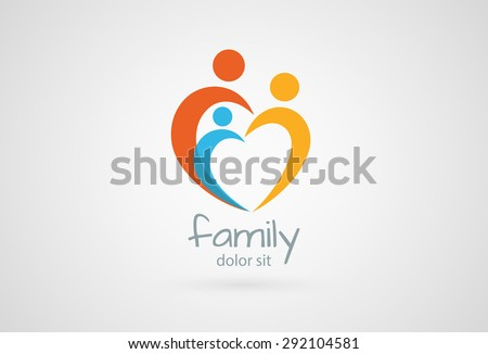 Abstract family icon. Together symbol. Vector logo - stock vector