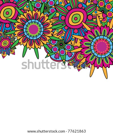 Abstract fantastic vector background with bright flowers