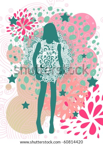 abstract fashion haute couture model background - stock vector