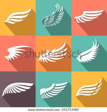 Abstract feather angel or bird wings icons set flat style long shadow isolated vector illustration - stock vector