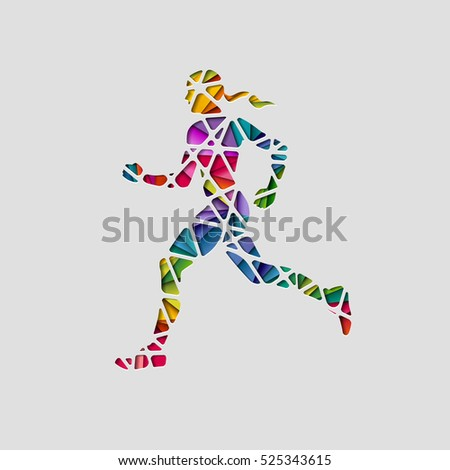 Abstract female runner, eps10 vector
