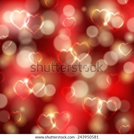 Abstract festive background with hearts, bokeh for invitation, gift, greeting card. Valentine's day design. Vector illustration EPS 10. - stock vector
