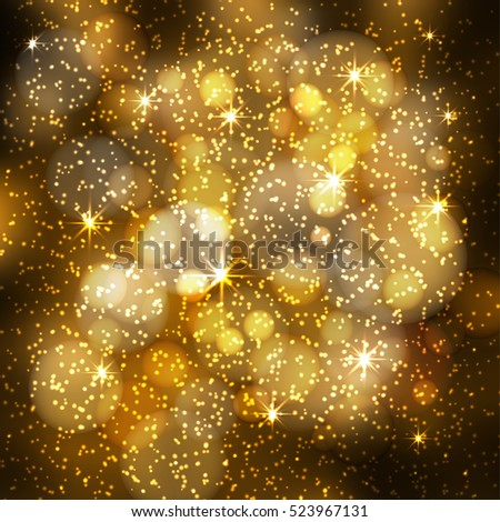 Abstract festive blurred background with sparkling bokeh lights and glittering stars. Modern golden vector illustration.