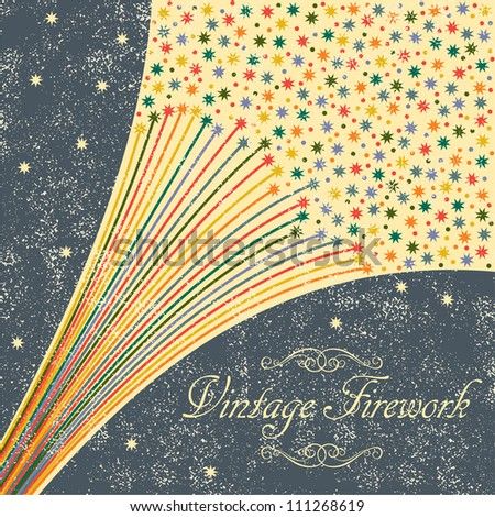 Abstract festive fireworks grunge background. Grunge effect can be cleaned easily - stock vector