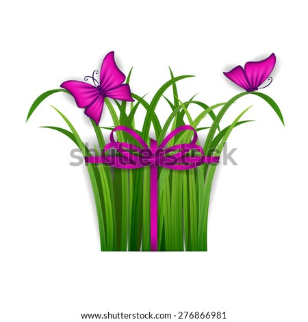 Abstract festive summer background with grass, butterfly, ribbon, bow for design of invitation, greeting, gift card. Promotion of summer sale for web site, page design. Vector illustration EPS 10. - stock vector