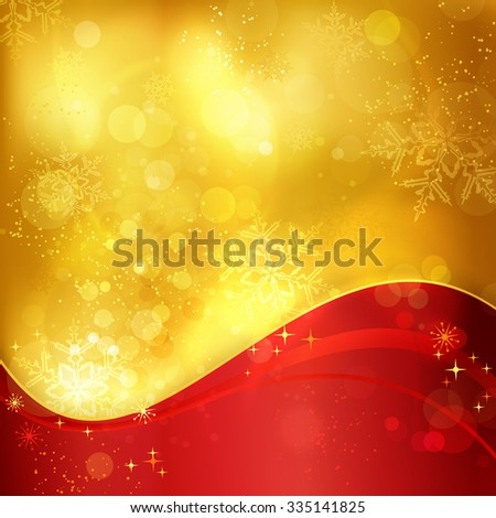 Abstract festive traditional golden Christmas background with a wavy red pattern and blurry lights, stars and snowflakes for the magical season to come. - stock vector