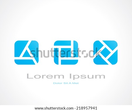 abstract figures in squares with rounded corners. template logo design. vector eps8 - stock vector