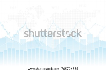 Abstract financial chart with trend line graph and world map in stock market on white color background