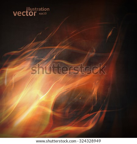 Abstract fire flames on a black background. Colorful vector illustration eps10 - stock vector