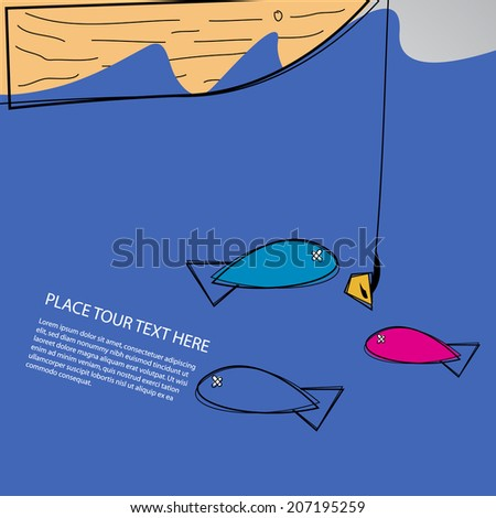 Abstract fishing design. - stock vector