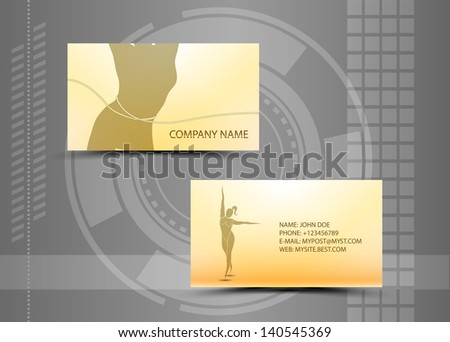 Abstract fitness business card (set template) - vector - stock vector