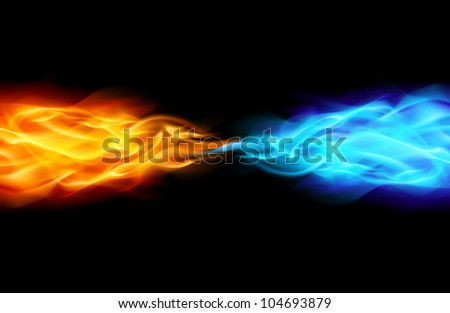 Abstract Flame in Space. Illustration on Black