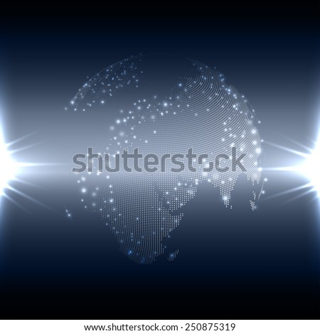 Abstract flash background with world globe, dark design vector illustration. - stock vector