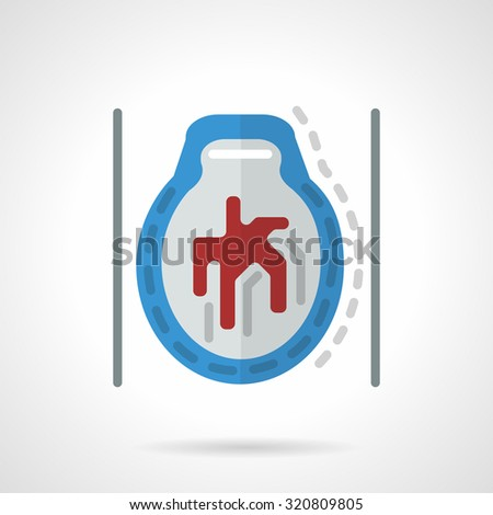 Abstract flat color style vector icon for CT brain angiogram. Head illness, MRI diagnostic. Web design element for business. - stock vector