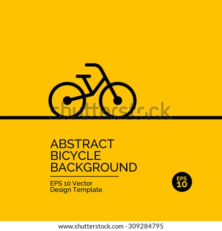 Abstract flat design concept with bicycle illustration on yellow background. Vector collection - stock vector