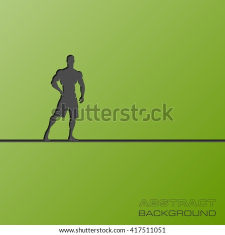 Abstract flat design concept with Muscular Man Silhouette Lifting Weightsillustration on background. Vector collection. Fitness icon