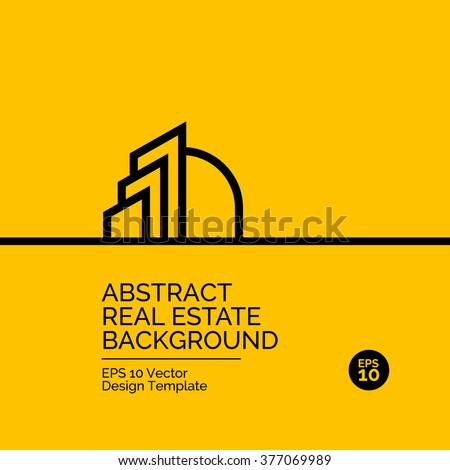 Abstract flat design concept with real estate illustration on yellow background. Vector collection - stock vector