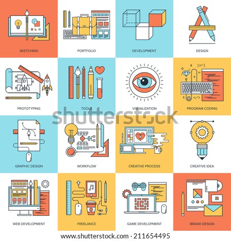 Abstract flat line vector illustration of design and development concepts. Elements for mobile and web applications. - stock vector