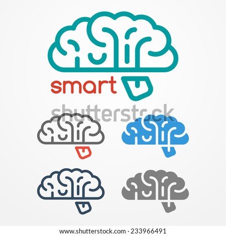 Abstract flat looking human brain logo set in different colors - stock vector